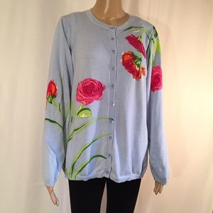 Quacker Factory Blue Sweater with Roses
